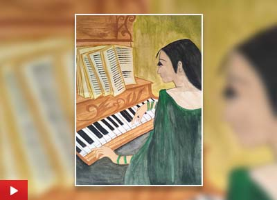Musician Girl, painting by Kinal Patel (17 years)