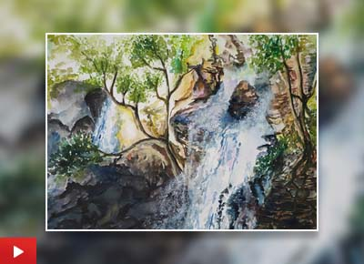 Waterfall, painting by Sumit Das (19 years)