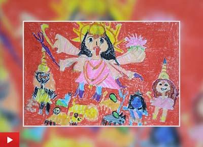 Maa Durga and kids, painting by Naithal Rahul (6 years)