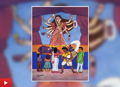 Durga, the pride of women, painting by Sattwiki Purkait (15 years)