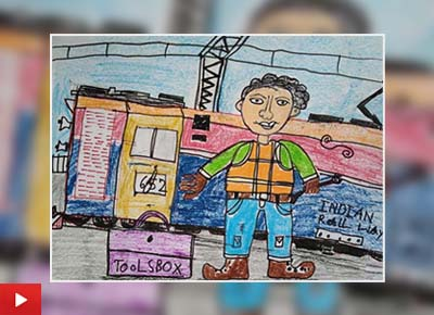The Engine Boy, painting by Shourik Routh (7 years)