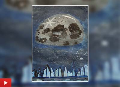 View of moon from outer space, painting by V. Pranavi (14 years)