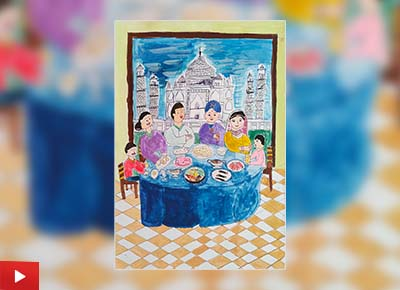 My Lunch with an Indian Family, painting by Kang Woo You (8 years)