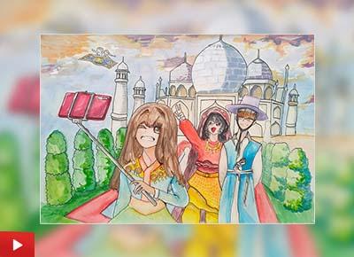 A trip to the Taj Mahal with family, painting by Doeun Kim (12 years)