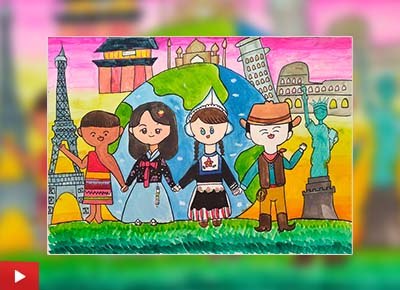 We are the world, painting by Hyo Ju Lee (11 years)