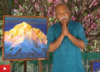 Artist Kishor Randiwe on his paintings of Himalayas (Hindi)