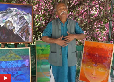 Artist Kishor Randiwe on his paintings of Himalayas at Indiaart Gallery, Pune
