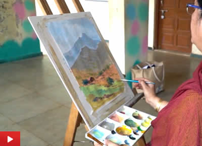 Painting video demo of a mountain in poster colours by artist Chitra Vaidya