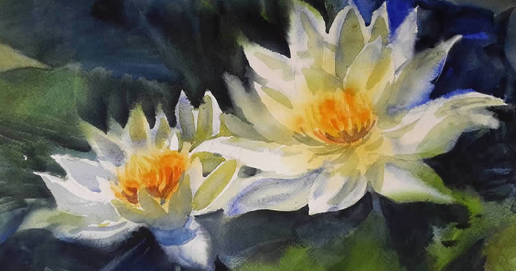 White Lotus Flowers, Painting by Chitra Vaidya, Watercolor on Paper, 10 x 14 inches