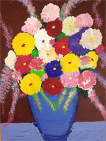Painting by Sohini Ghosh - Flowers in a Blue Vase