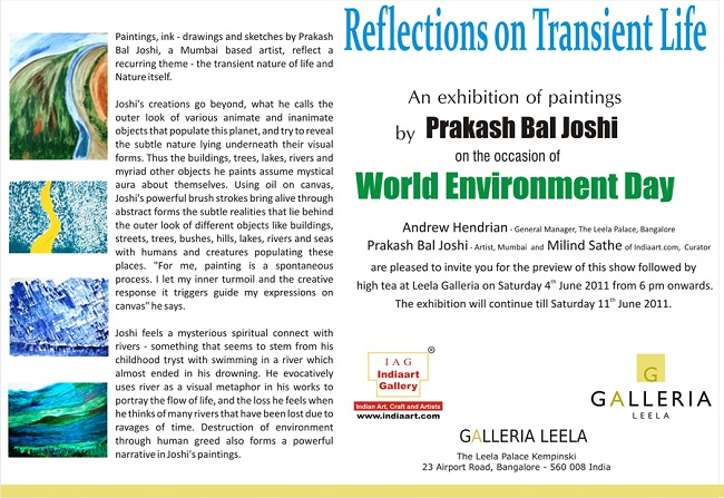 Reflections on Transient Life Exhibition of Paintings at Leela Galleria, Bangalore