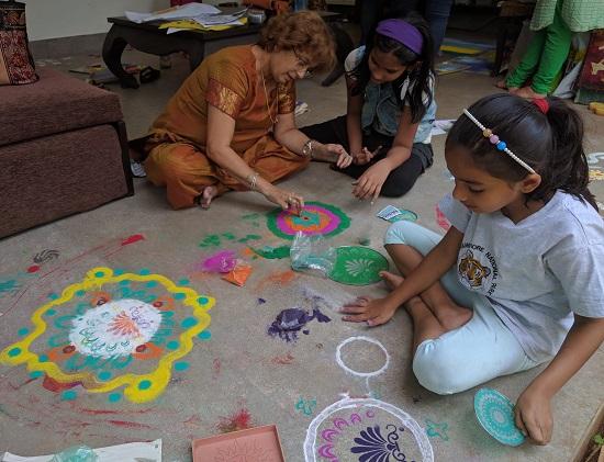 Rangoli workshop at Indiaart Gallery