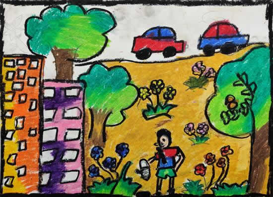 Forest in My City, painting by Akshara Anand Gandhi (born : 2009)
