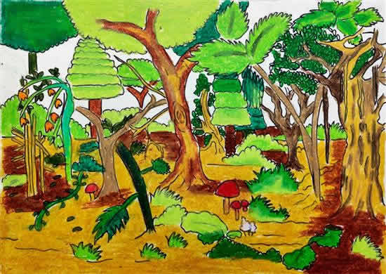 Diversity of Tree in Forest, painting by Arnav Bhutkar (born : 2007)