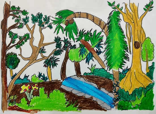 Diversity of Tree in Forest, painting by Avanti Anand Bhutkar(born : 2011)