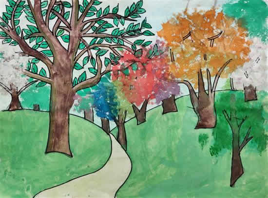Diversity of Tree in Forest, painting by Ayushi Dwivedi (born : 2009)