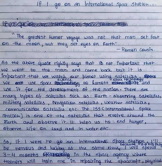 If I go on International Space Station, essay by Kavya Shingote (born : 2008)