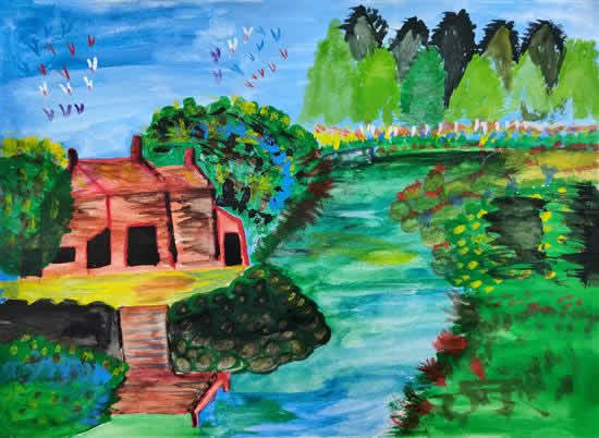 Forest in My City, painting by Komal Ramesh Nalawade (born : 2005)