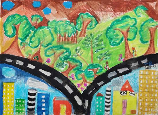 Forest in My City, painting by Laxmi Subhash Ghante (born : 2006)