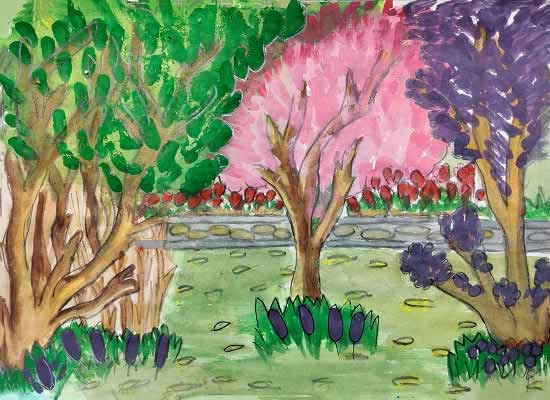 Diversity of Tree in Forest, painting by Mrunal Pradeep Bhosale (born 2007)