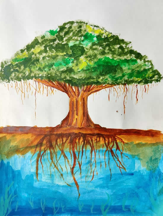 My Favorite Tree, painting by Omkar Balaji Suryawanshi (born : 2005)