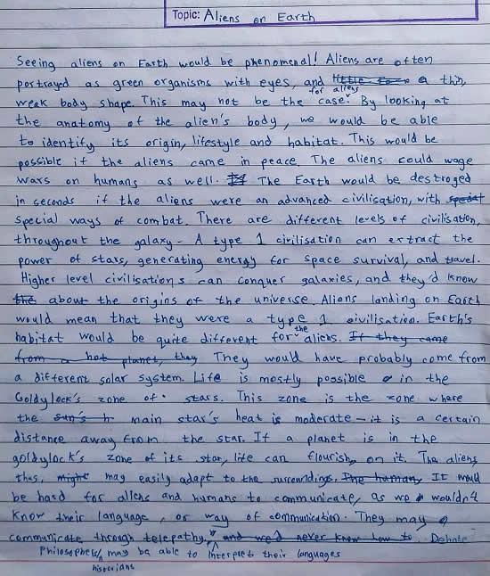 Aliens on Earth, essay by Sharvil Prashant Kadam (born : 2006)