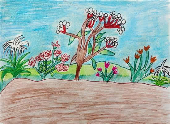 Flower Garden, painting by Sufia Naz (born : 2010)