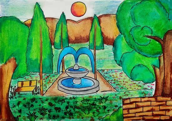Flower Garden, painting by Suhani Rajendra Gondekar (born : 2006)