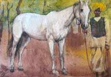 White Horse Painting by Abalal Rahiman