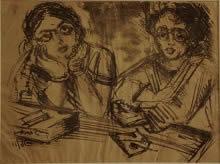 Two Women Painting by Binode Behari Mukherjee