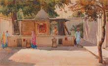 Morning Worship, Painting by D. C. Joglekar