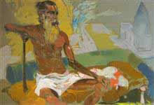 Contemplation, Figurative Painting by D. J. Joshi, Gouache on Paper, 21.5 X 27.5 inches