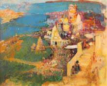 Divine Light in Haridwar, Landscape Painting by D. J. Joshi, Oil on Canvas, 30.5 X 36.5 inches