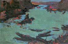 Divine Light in Jablalpur, Landscape Painting by D. J. Joshi, Gouache on Paper, 21.5 X 27.5 inches