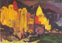 Divine Light (Omkareshwar) II, Landscape Painting by D. J. Joshi, Gouache on Paper, 21.5 X 27.5 inches