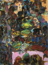 Village Market, Absctract Painting by D. J. Joshi, Mixed Media on Paper, 27.5 X 21.5 inches