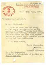 Dir of Arts 1979, Testimonials - G. K. Deshpande