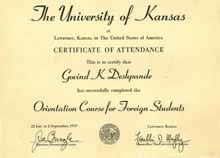 Univ. of Kansas 1960, Testimonials - G. K. Deshpande