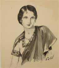 Portrait of a lady in Sepia, Painting by J D Gondhalekar