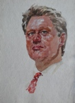 Bill Klinton, Portrait & Figurative Painting by M. K. Kelkar, Watercolour on Paper, 17 X 11