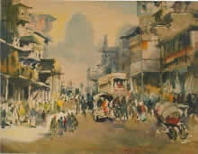 Delhi Street, Streetscape painting by M. S. Joshi, Watercolour on Board, 25 x 30 inches