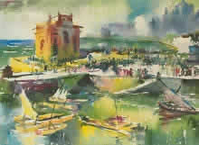 Gateway of India, Landscape Paintings by M. S. Joshi, Watercolour on Paper, 22 x 29 inches