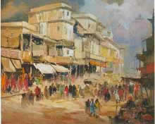 Street Delhi, Streetscape painting by M. S. Joshi, Gouache on Board, 25 x 30 inches