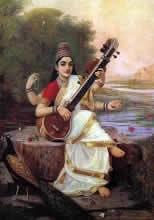 The Goddess Saraswati, Figurative Painting by Raja Ravi Varma