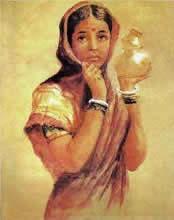 Young Village Girl, Figurative Painting by Raja Ravi Varma