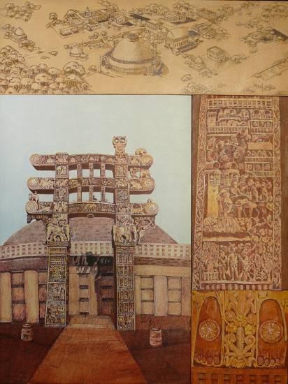 Sanchi Torana, Painting by Sandhya Ketkar