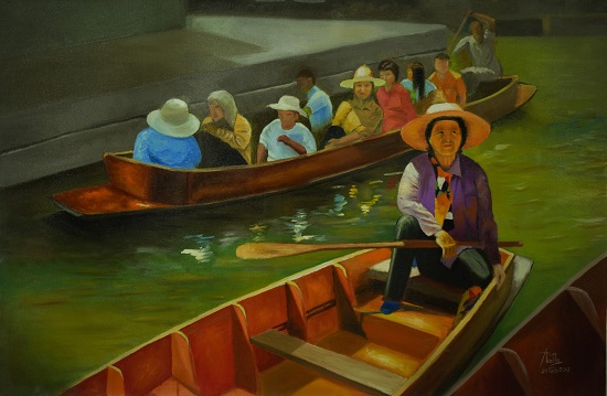 The Floating Market, painting by Arun Akella