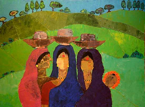 Off to Work, painting by Mamta Chitnis Sen