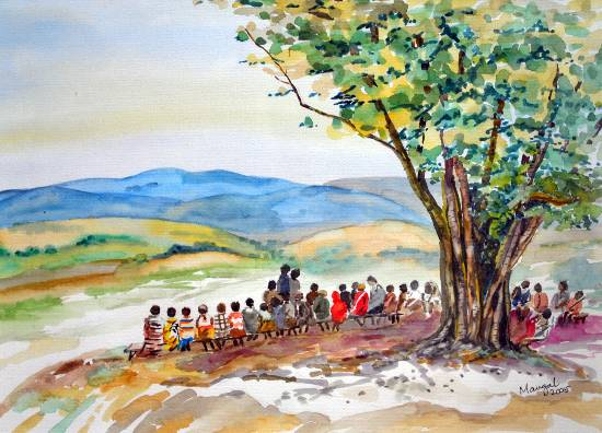 In the Shadow, Konkan, painting by Mangal Gogte