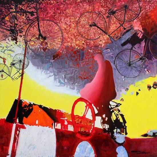 Bicycle, painting by Manhar Kapadia